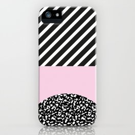 Memphis Pink Stripes 80s iPhone Case