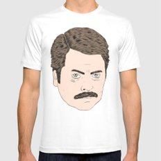 Ron Swanson MEDIUM Mens Fitted Tee White