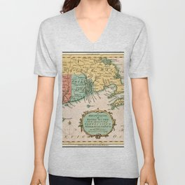 Old World Map of Colony Rhode Island Unisex V-Neck