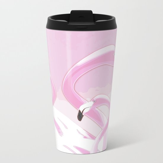 Soft Pink Flamingos Design Metal Travel Mug