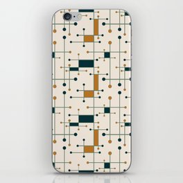 Intersecting Lines in Cream, Blue-Green and Orange iPhone Skin