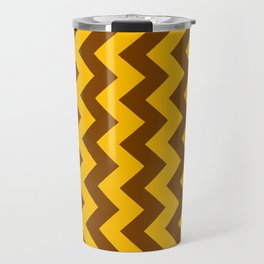 Amber Orange and Chocolate Brown Vertical Zigzags Travel Mug