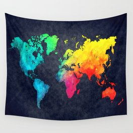 World map watercolor 6 Wall Tapestry