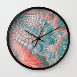 Abstract Living Coral Reef Nautilus Pastel Teal Blue Orange Spiral Swirl Pattern Fractal Fine Art Wall Clock