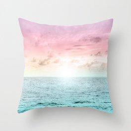 Pastel Beach Sunset Throw Pillow