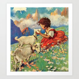 Jessie Willcox Smith - Heidi, Girl Of The Alps - Digital Remastered Edition Art Print