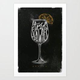 Spritz cocktail chalk color Art Print