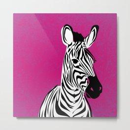 Magenta Pop Zebra Metal Print