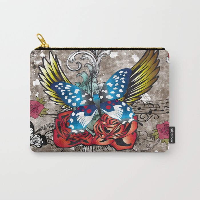 Butterfly with Roses Carry-All Pouch