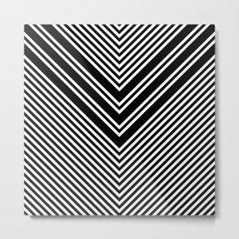 Back and White Lines Minimal Pattern No.1 Metal Print