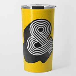 Ampersand black and white and yellow 3D typography design minimalist home decor wall decor Travel Mug