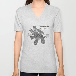 Amsterdam Map Unisex V-Neck