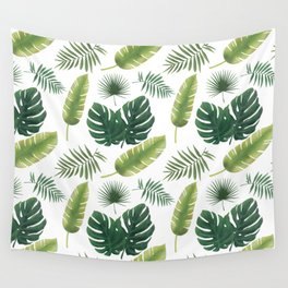 Tropical Leaves Pattern - Palm Leaves Banana Leaves Monstera Wall Tapestry