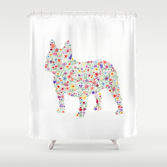 French Bulldog Floral Watercolor Shower Curtain By Bewildandfree