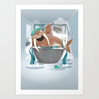 walrus Art Prints featuring Walrus by Martin Bowyer