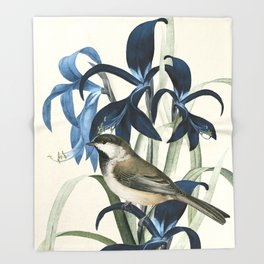 Little Bird and Flowers II Throw Blanket