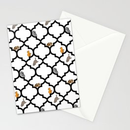 Cats on a Lattice - White Stationery Cards