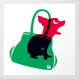 Angry animals: chihuahua - little green bag Art Print