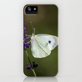 Butterfly on lavender, green blurry background iPhone Case