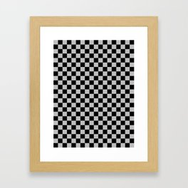Black and Gray Checkerboard Framed Art Print