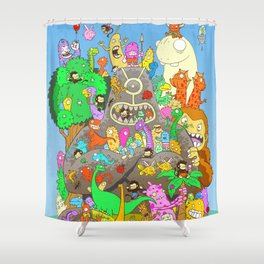 It's a small world full of assorted critters Shower Curtain
