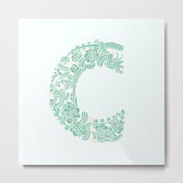 Floral Type - Letter C - Seafoam Metal Print
