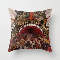 swallow Throw Pillows featuring swallow frogs by zansky