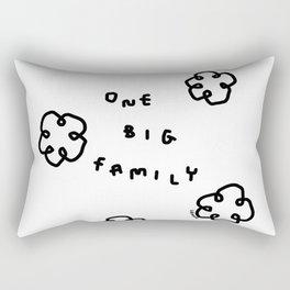 One Big Family - Black White Illustration Rectangular Pillow