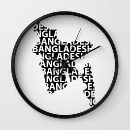 Typography Map of Bangladesh Wall Clock