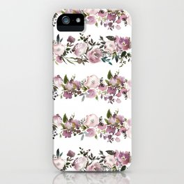 Girly pink lilac teal watercolor floral stripes pattern iPhone Case