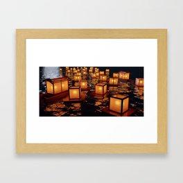 Japanese floating lantern Framed Art Print