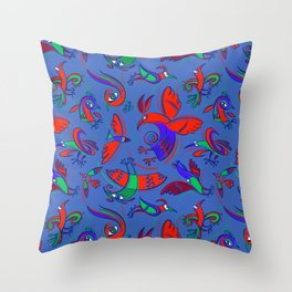 Pattern with Firebirds (on blue background) Throw Pillow