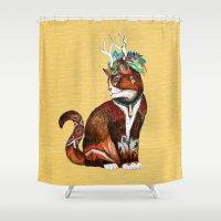 wizard Shower Curtains featuring Wizard Cat by Sandra Dieckmann