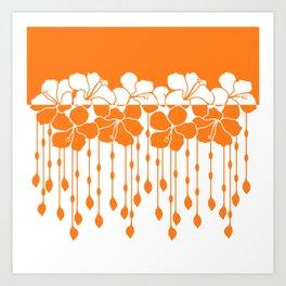 Bead Hibiscus Curtain: Ivory Orange Art Print