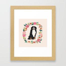 bernese mountain dog floral wreath dog gifts pet portraits Framed Art Print