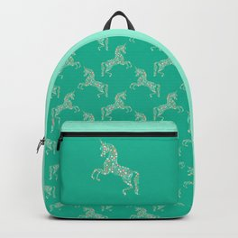 Floral Unicorn in Teal Backpack