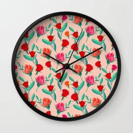 Rosebud Print - Peachy Bloom Wall Clock