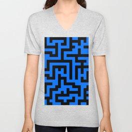 Black and Brandeis Blue Labyrinth Unisex V-Neck