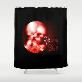 glowing red halloween skull Shower Curtain