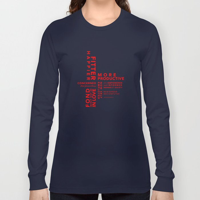 6354f688 Fitter Happier (red type) Long Sleeve T-shirt by nicole7s | Society6