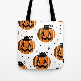 Pumpkin and Black Cat Tote Bag