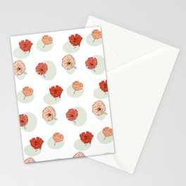 Poppy Flower Stem on Green Oval Stationery Cards