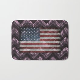 Lilac Purple Digital Camo Chevrons with American Flag Bath Mat