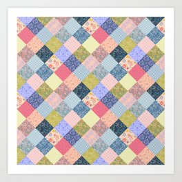 Bohemian diamond patchwork quilt Art Print