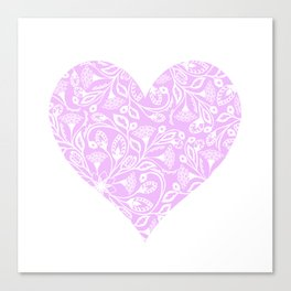 Floral Heart Design Pink and White Canvas Print