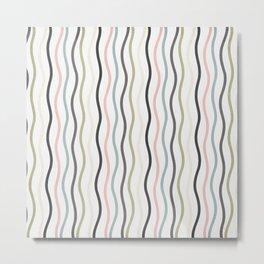 Retro Multicolor Stripe Metal Print