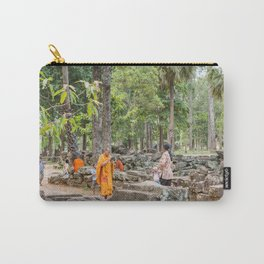 A Monk With an iPad at Bayon Temple, Angkor Thom, Cambodia Carry-All Pouch