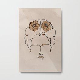 Frida Line Art Metal Print