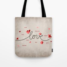 Love, Butterfly Hearts & Text Unique Valentine Tote Bag