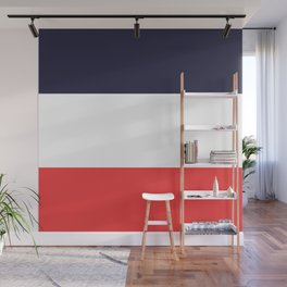 Blue White & Red Color-Block Stripe Wall Mural